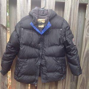 Boys Youth Black Puffer Hooded Winter Coat Jacket